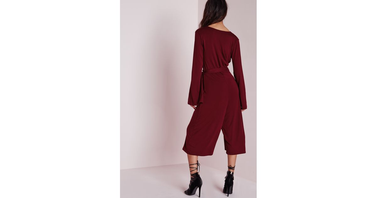 efac5e4191 Lyst - Missguided Jersey Wrap Belt Culotte Jumpsuit Burgundy in Red