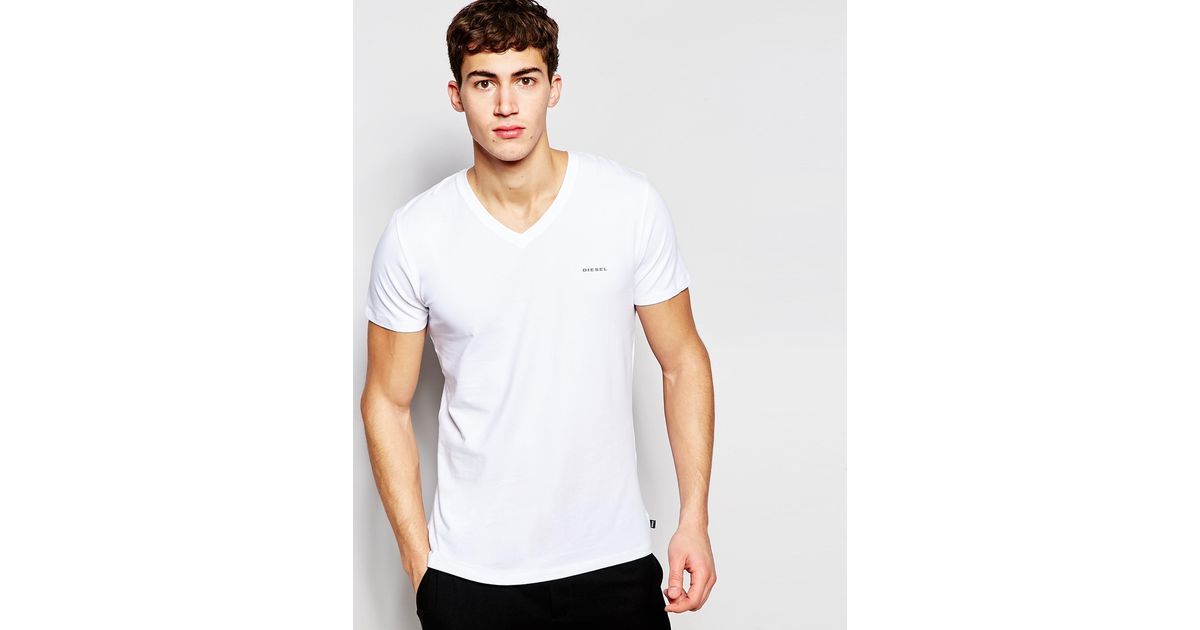 Diesel Logo V-neck T-shirt In Stretch Cotton In Slim Fit in White for Men | Lyst