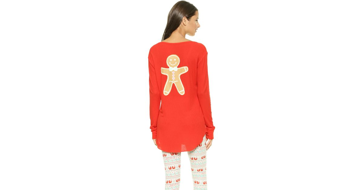 gingerbread shirt wildfox snowed in gingerbread man sleep shirt fireplace red in
