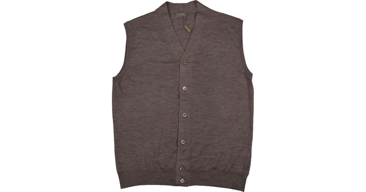 - Cruciani Light Brown Cardigan Vest In Brown For Men Lyst