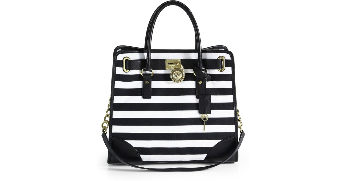 Lyst - MICHAEL Michael Kors Hamilton Striped Canvas Tote in Black d9e0591f97588