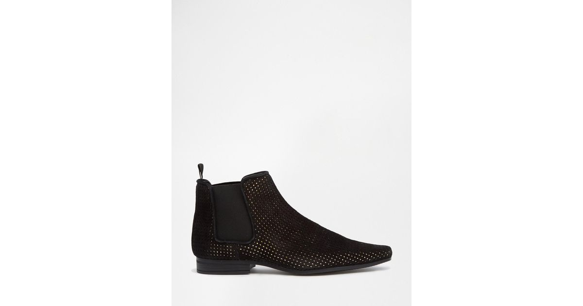asos chelsea boots in black suede with gold perforation in