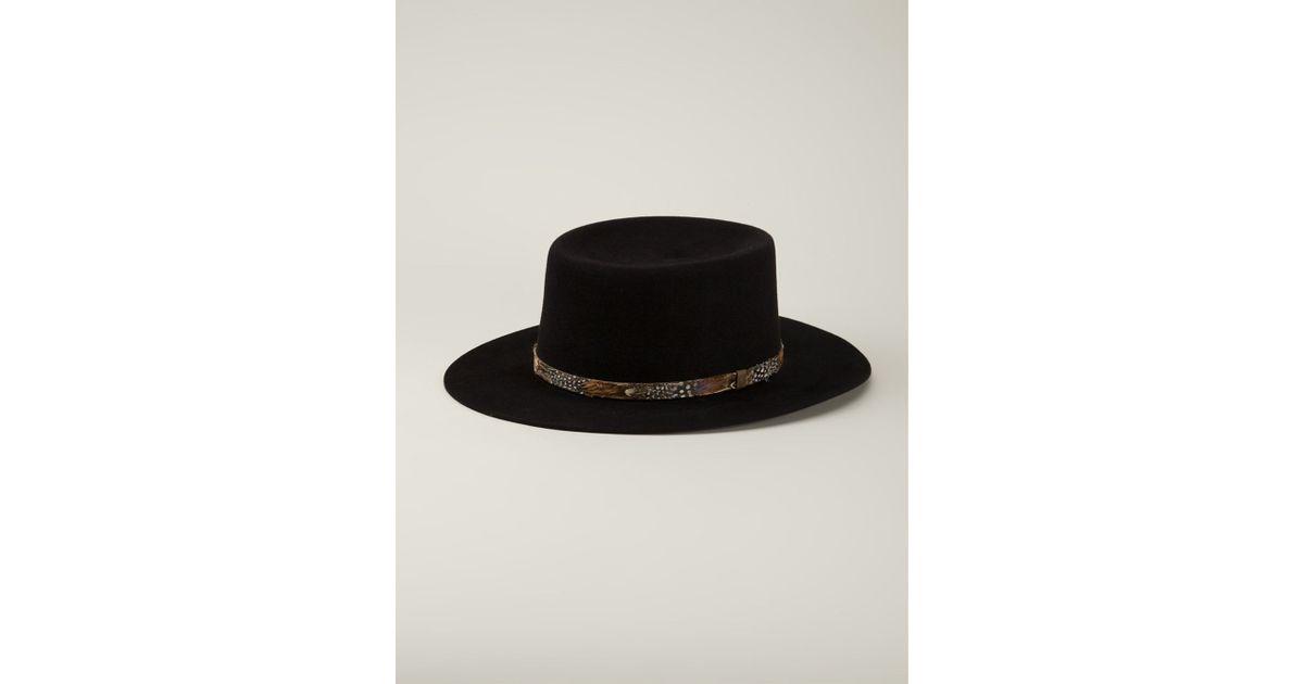 5c3968acb3e Saint Laurent Feather Trim Hat in Black - Lyst