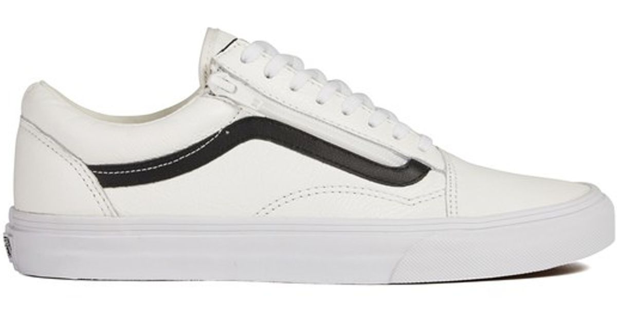 top-rated cheap good out x choose best Vans White Men's Old Skool Zip Premium Leather Trainers for men