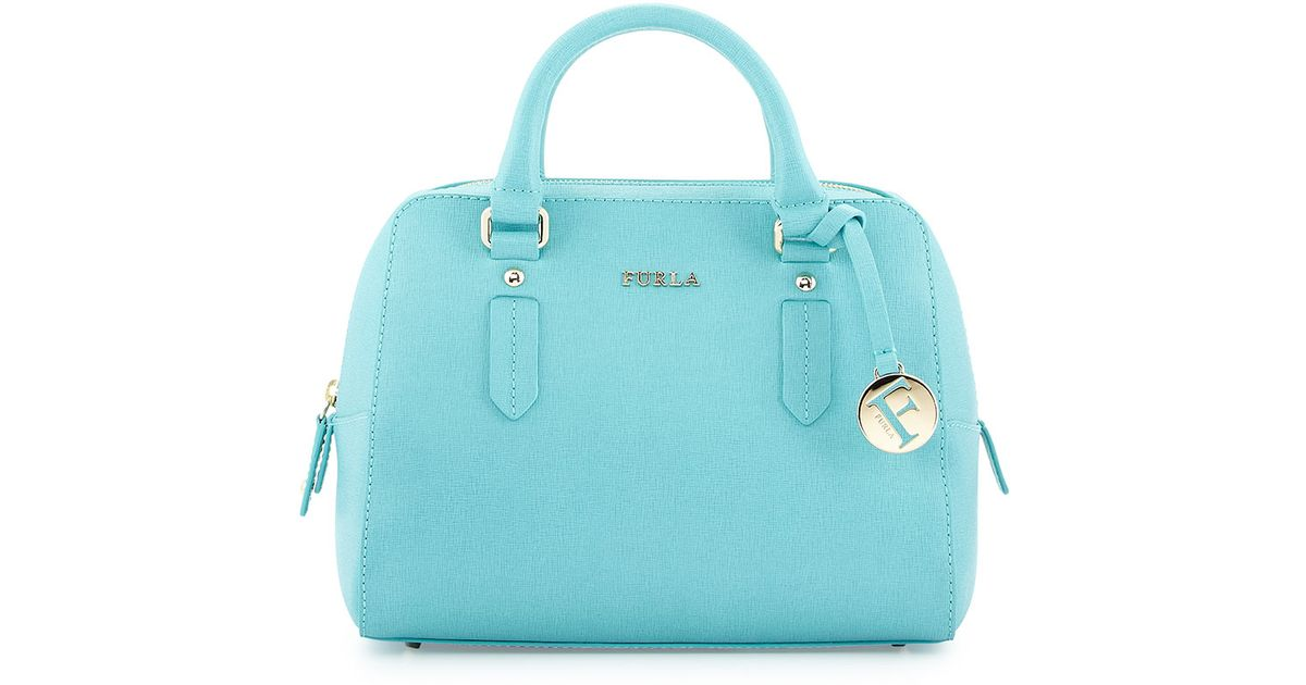 2c0ea26f2e55 Lyst - Furla Elena Small Leather Satchel Bag in Blue