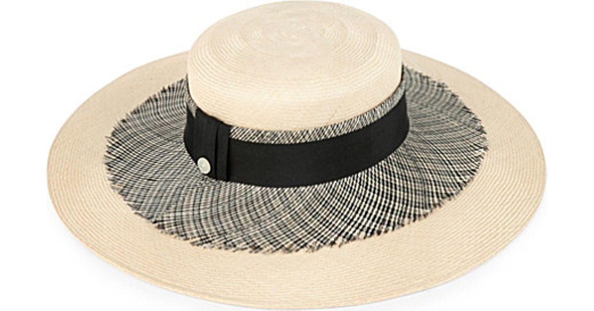 42f71e3677e Lyst - Mich Dulce Fringe Jenny Straw Hat in Natural