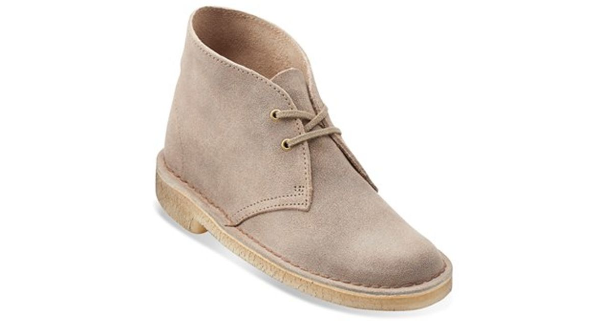 clarks desert boot in brown taupe distressed suede lyst
