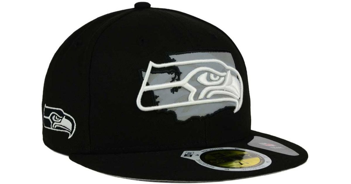 timeless design 3b4d1 29e1c canada lyst ktz seattle seahawks state flective redux 59fifty cap in black  for men 967d7 67651