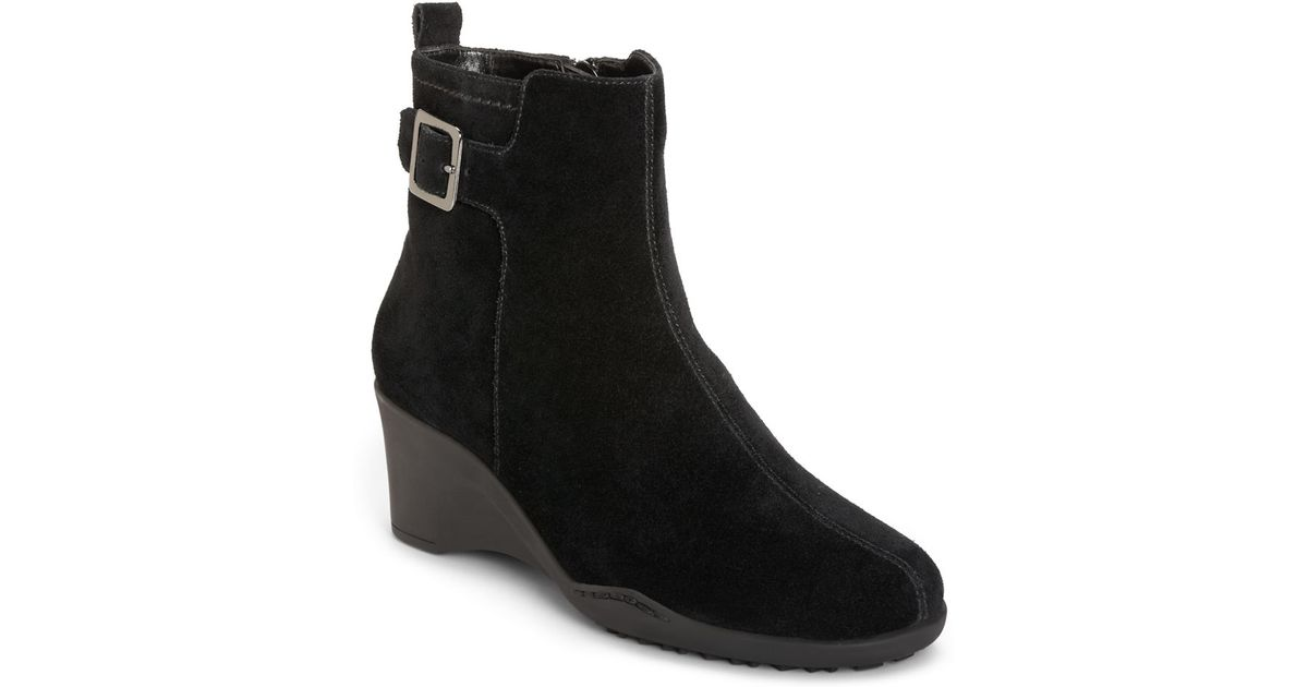 aerosoles entorage suede wedge ankle boots in black lyst