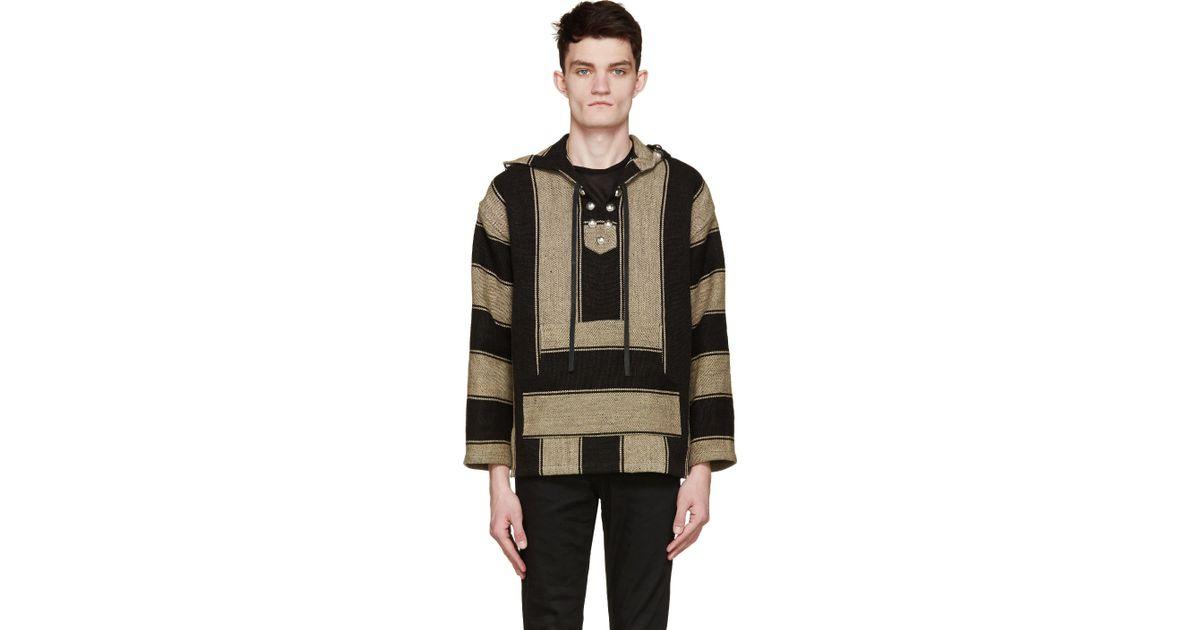 Saint Laurent Natural Beige & Black Linen Poncho Hoodie for men