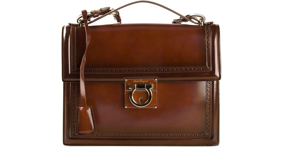 Lyst - Ferragamo Aileen Shoulder Bag in Brown 2d12ceed205de