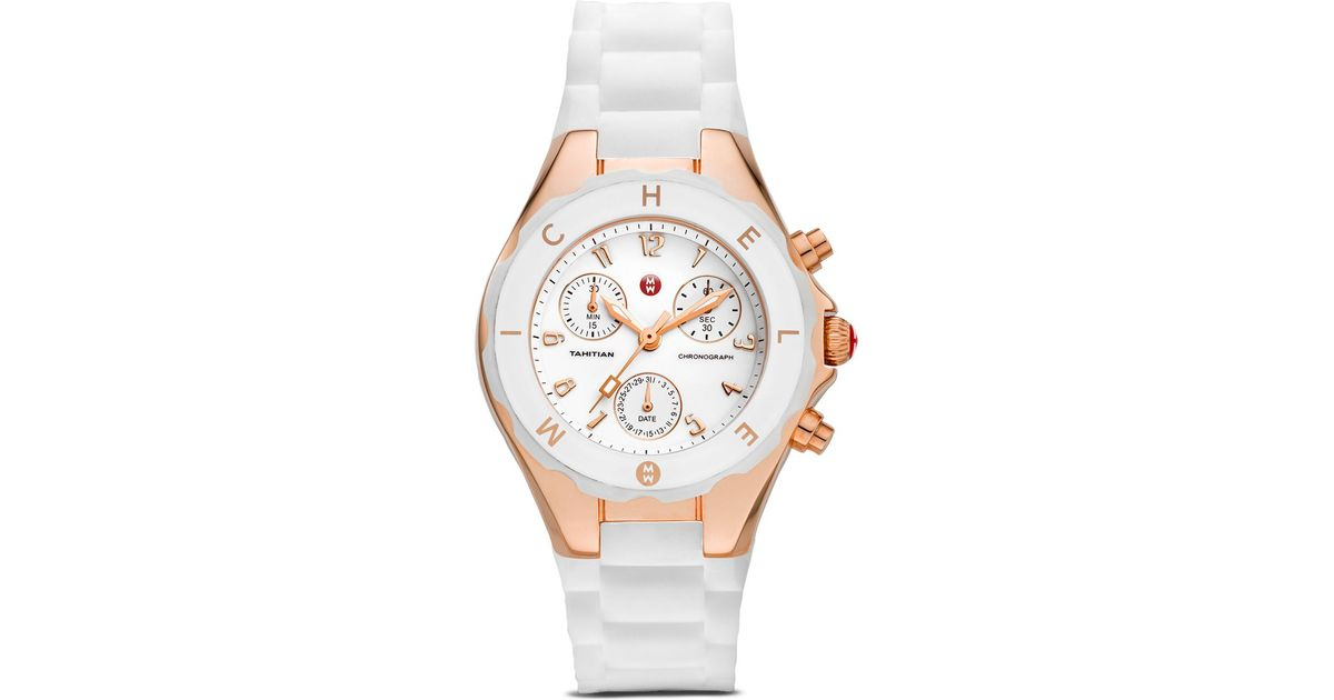 7ea5abce1 Michele Tahitian Jelly Bean Watch, 35Mm in White - Lyst