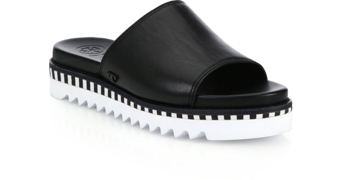 9160b8a7ec3 Lyst - Tory Burch Sawtooth Leather Slides in Black