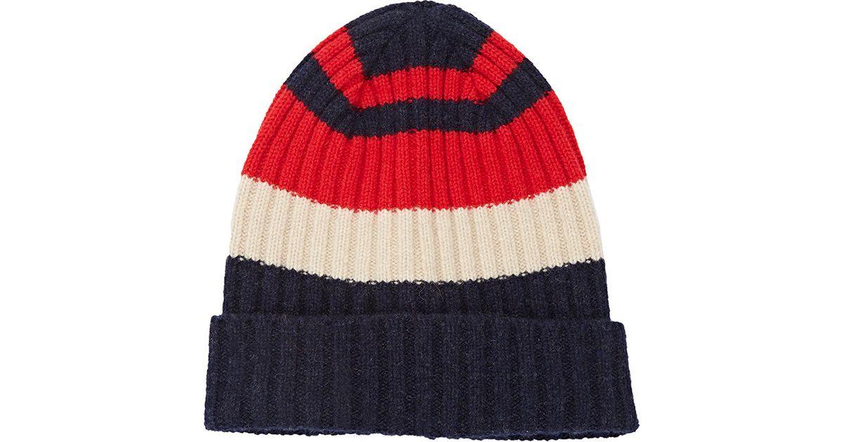06791104d3d Lyst - Drake S Striped Rib-knit Beanie in Blue for Men