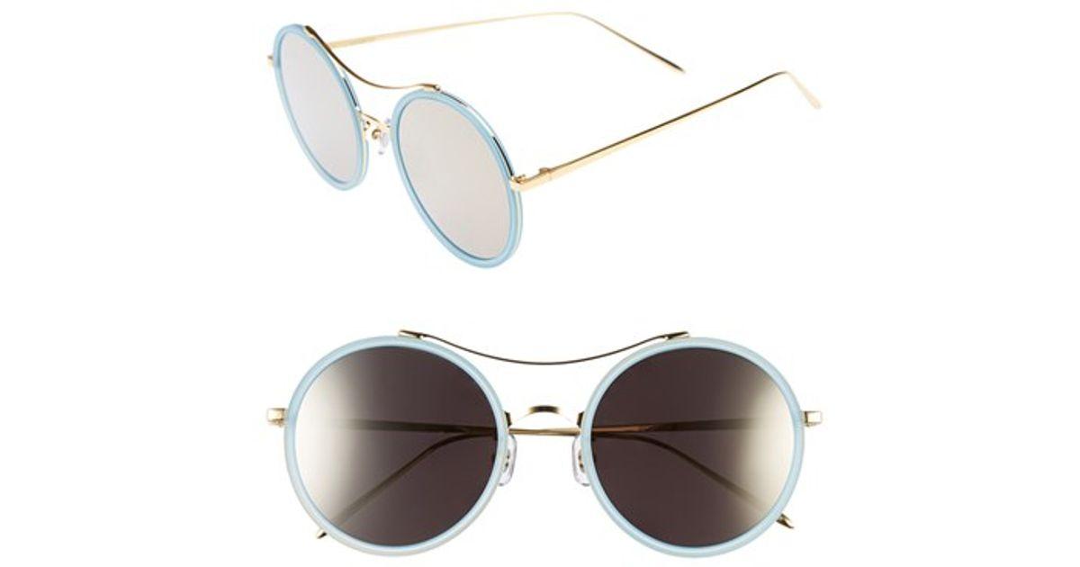 3e4b7c46d7d Lyst - Gentle Monster 52mm Round Sunglasses - Pastel Blue  Dark Beige Mirror  in Blue