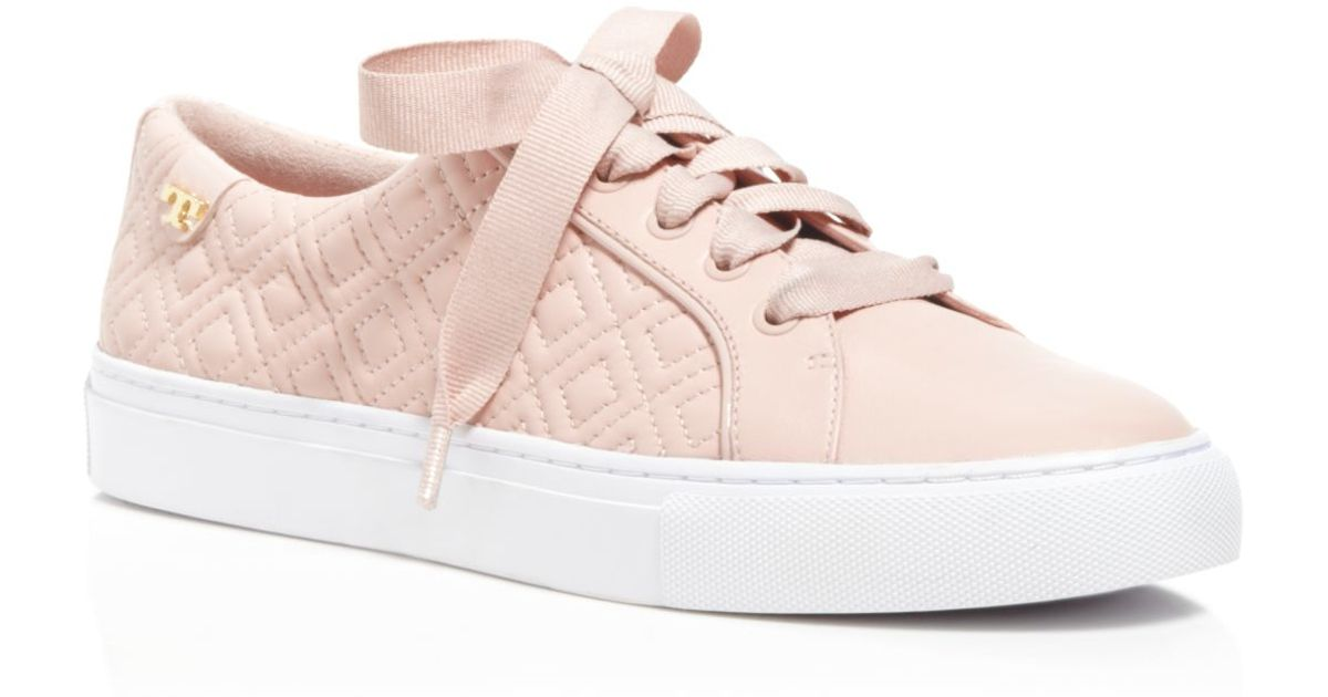 7361e81cd62036 Lyst - Tory Burch Marion Quilted Lace Up Sneakers in Pink