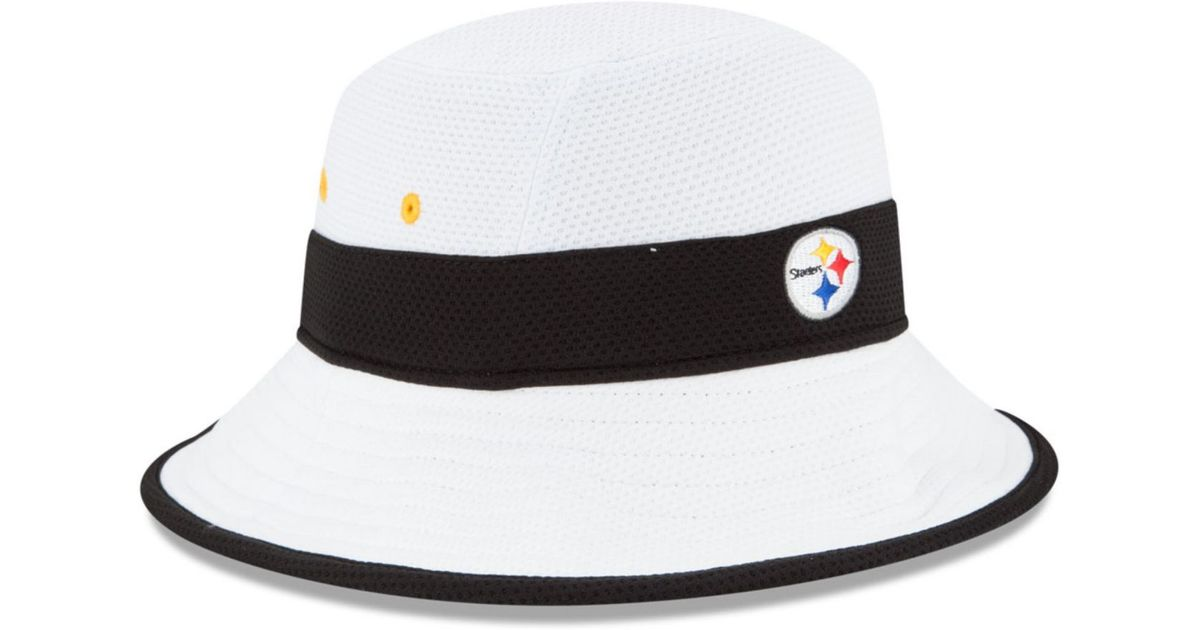 aa33f4773 KTZ White Pittsburgh Steelers Training Camp Official Bucket Hat for men