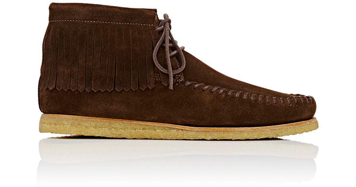 65a6375508380 Saint Laurent Brown Fringed Moccasin Desert Boots for men