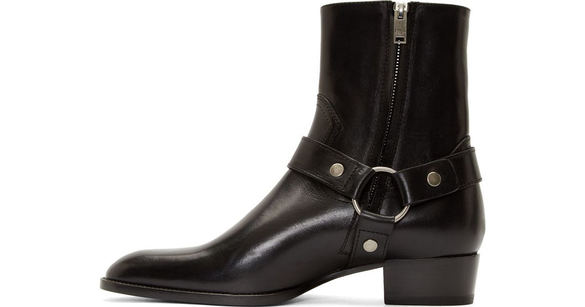 7f569a4bc98 Saint Laurent Black Leather Harness Wyatt Boots in Black for Men - Lyst