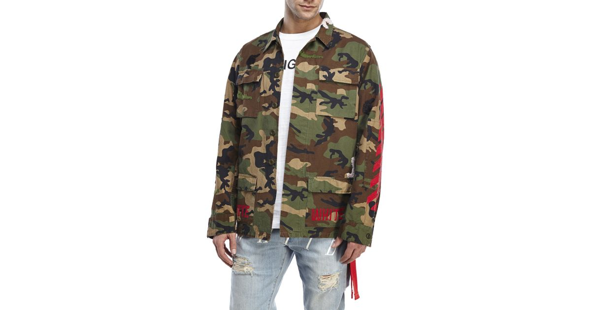 Off-White C/o Virgil Abloh Patch Camouflage-Print Cotton