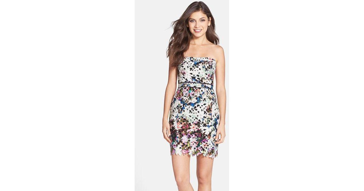 31523ce7 Lyst - Nicole Miller Floral Print Lace Strapless Sheath Dress