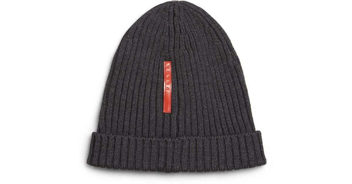 6e90c59b3c0 greece padded jacquard hat 72a7a 5671e  low cost lyst prada berretto knit  beanie in gray a0700 e59f6