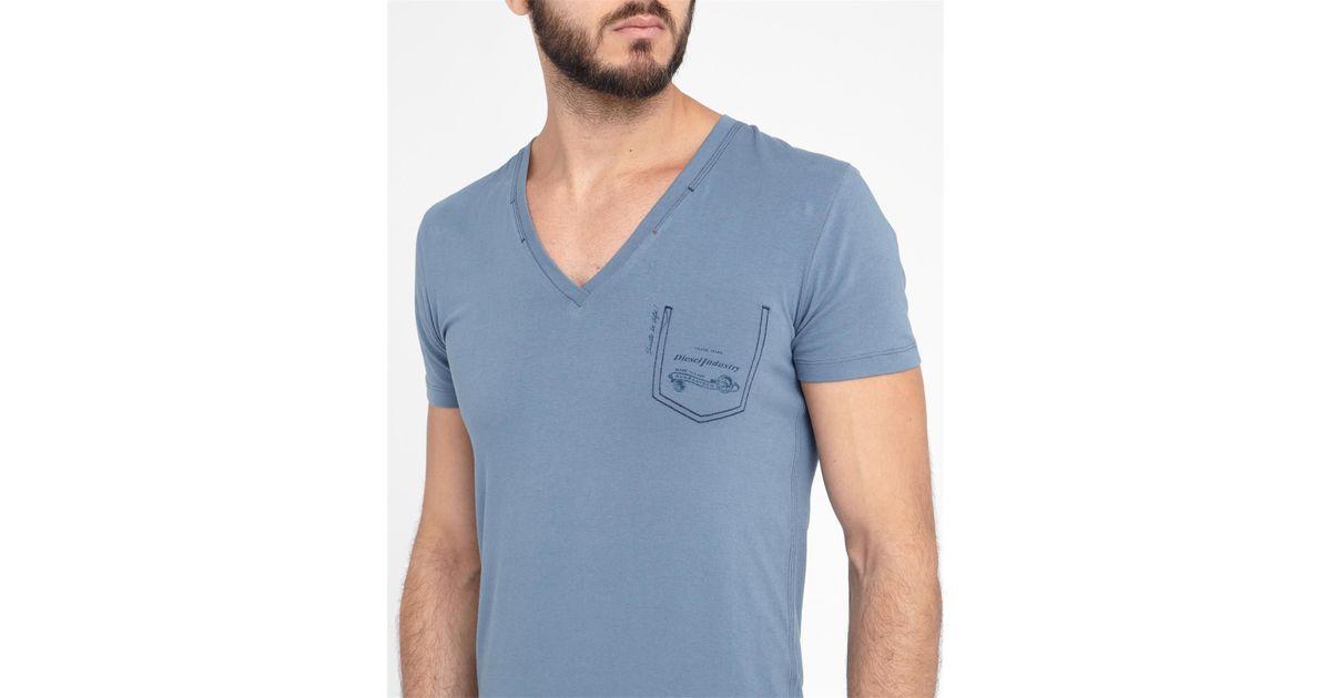 Diesel blue jesse v neck t shirt in blue for men lyst for Mens diesel v neck t shirts