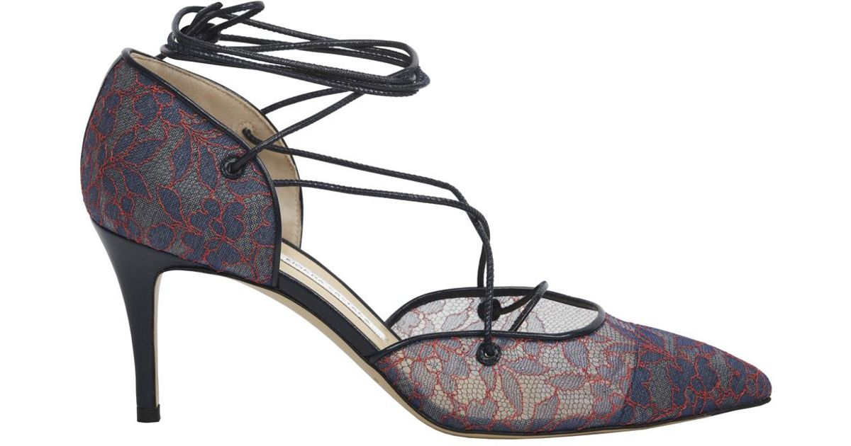 9e11d7c022b Bionda Castana Nicole Dark Denim   Red Floral Lace Mid Heel Pumps - Last  Pair in Blue - Lyst