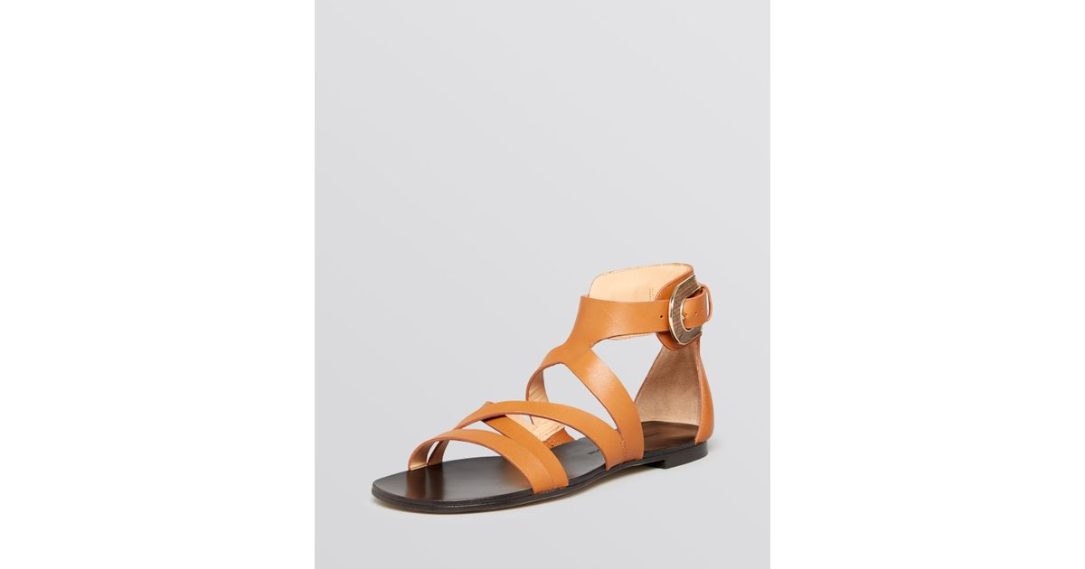 6eefd5ff06ee Lyst - Sigerson Morrison Flat Gladiator Sandals Cadee in Natural