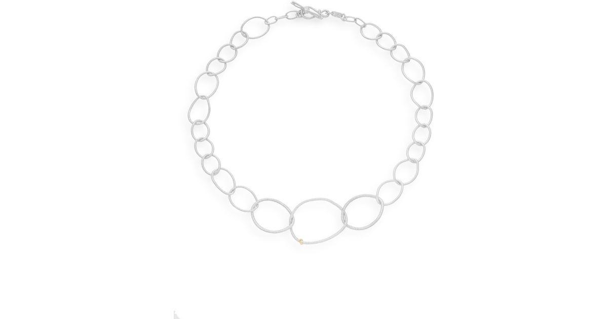 Lyst Judith Ripka Jubilee Diamond Sterling Silver 18k Yellow Gold Link Necklace In Metallic