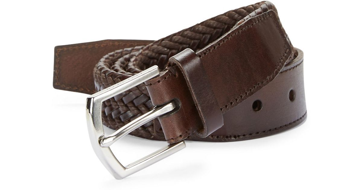 cole haan braided leather belt in brown for lyst