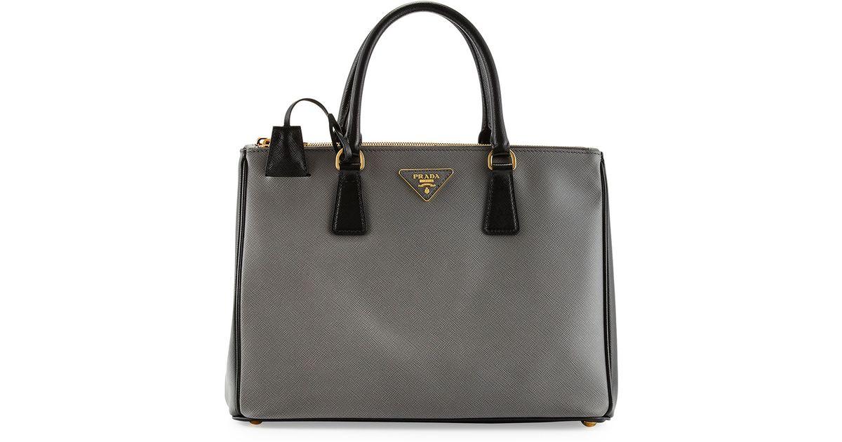 820e0df5f182 Lyst - Prada Saffiano Lux Bicolor Double-zip Tote Bag in Gray