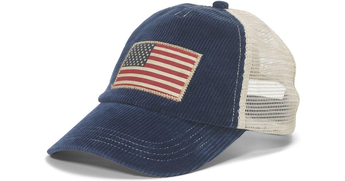 e5cdfa6cbbc2d Polo Ralph Lauren Corduroy Flag Trucker Cap in Blue for Men - Lyst