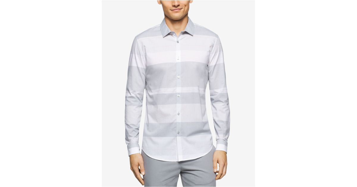Calvin klein men 39 s long sleeve wide horizontal stripe for Horizontal striped dress shirts men