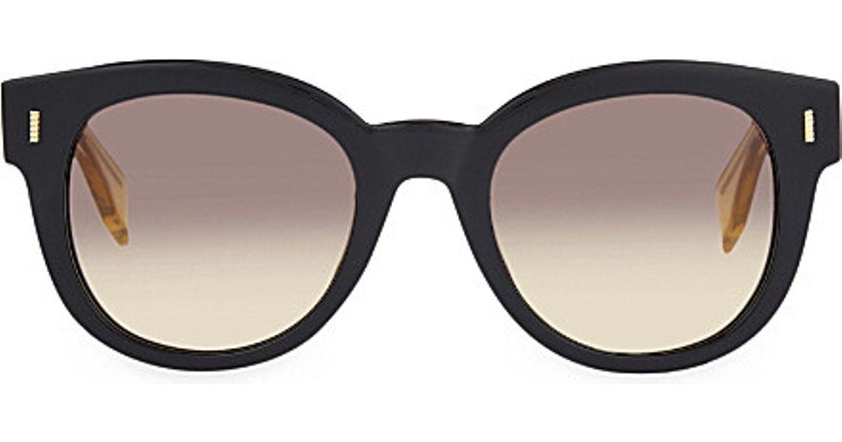 Fendi Ff0026 s Round Sunglasses in Black   Lyst e812f8e78f3f