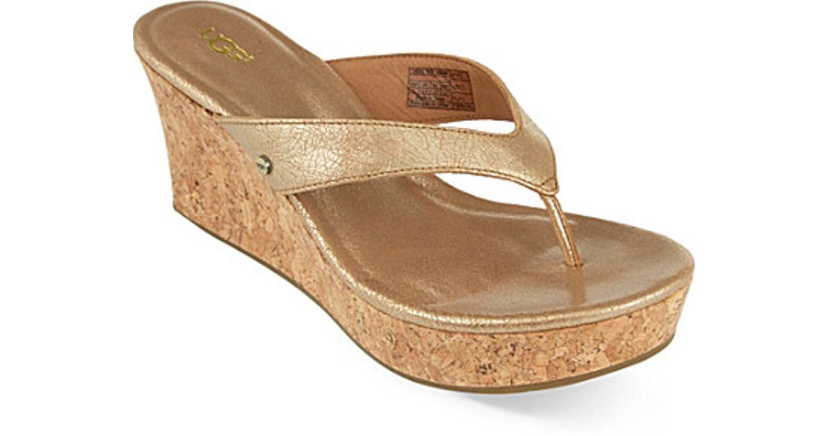 3cdf3834352 UGG Metallic Natassia Cork Wedge Sandals
