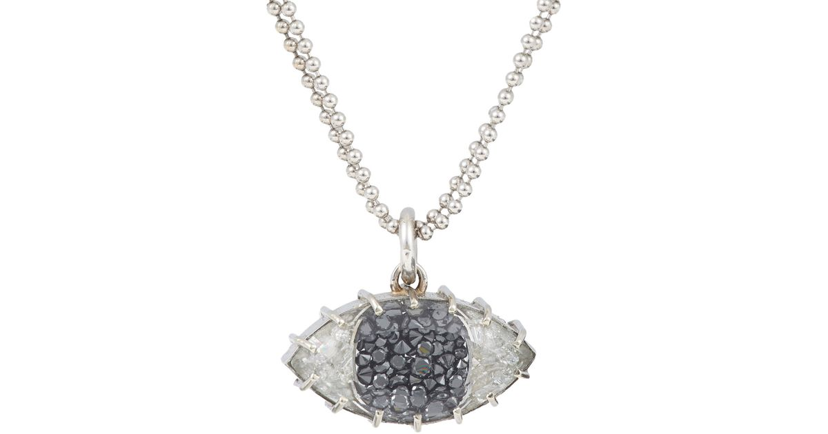 Lyst renee lewis diamond white gold evil eye pendant necklace aloadofball Image collections