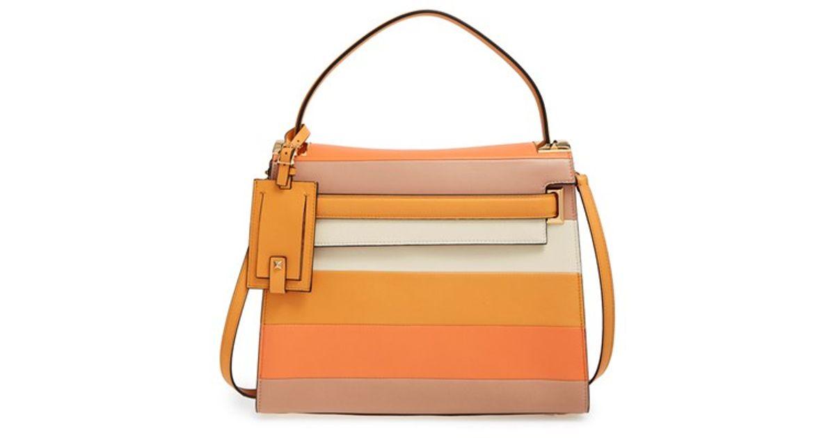 f45d85776da Valentino My Rockstud Striped-Leather Satchel in Orange - Lyst