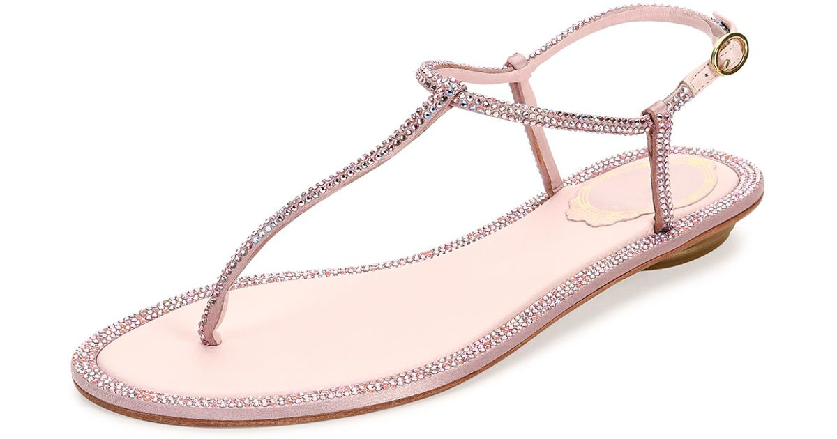 7acc610ab4743 Lyst - Rene Caovilla Crystal Flat Thong Sandal in Pink