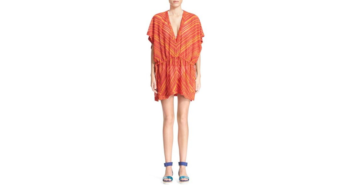 6f1caade58 Lyst - Missoni Chevron Stripe Cover-up in Orange