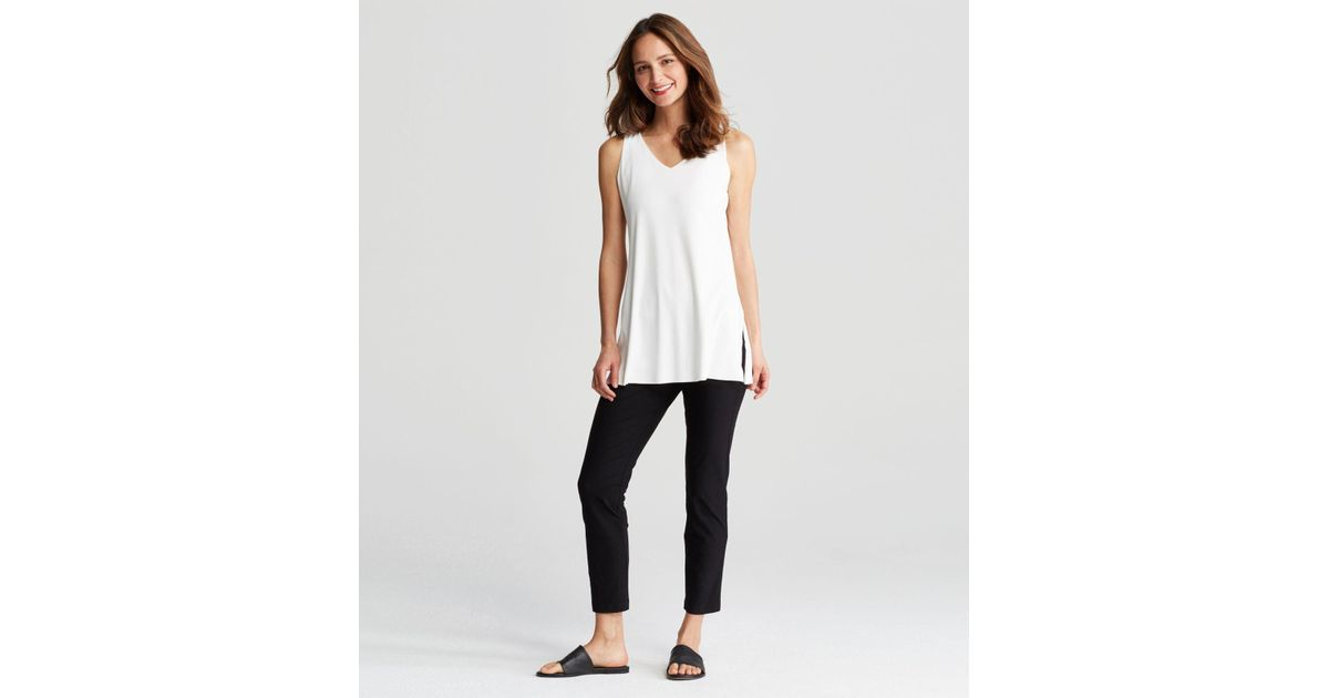 a3a32ca6174 Eileen Fisher Stretch Silk Jersey V-neck Double-layer Tunic in White - Lyst