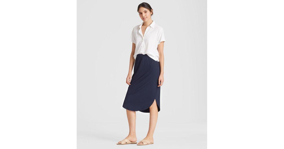 a79621c35 Eileen Fisher Viscose Jersey Shirttail Skirt in Blue - Lyst