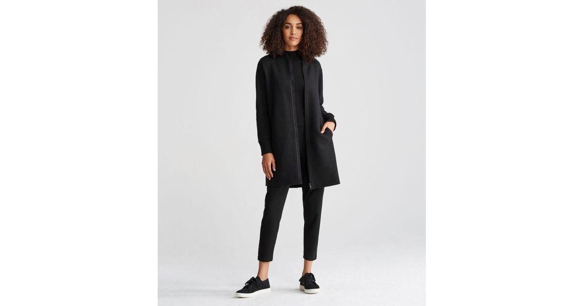 339a625ca Eileen Fisher Black Boiled Wool Long Bomber Coat