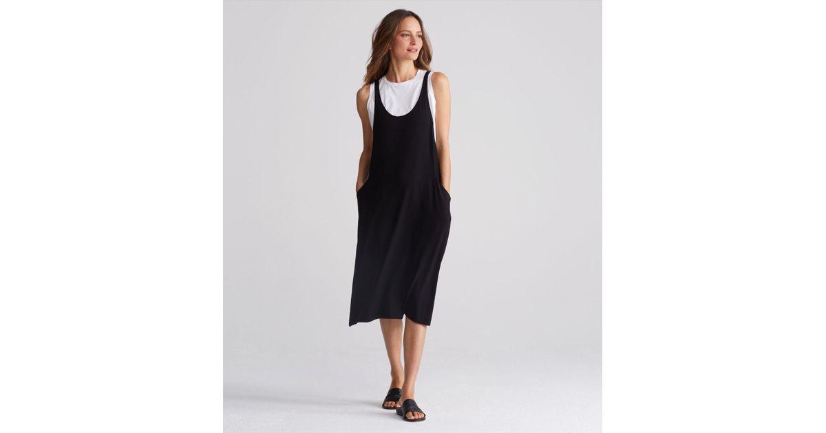 ff674fb28068b5 Lyst - Eileen Fisher Lightweight Viscose Jersey Scoop Neck Jumper Dress in  Black