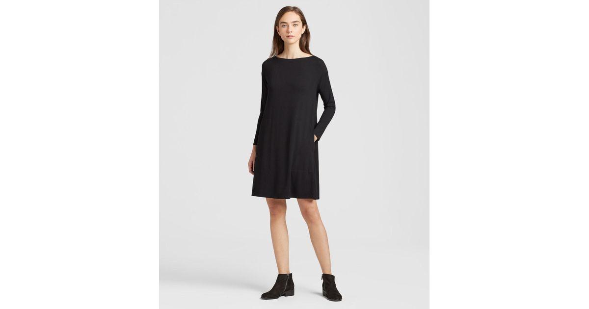 636b81b444d Eileen Fisher Viscose Jersey Dress With Back Twist in Black - Lyst