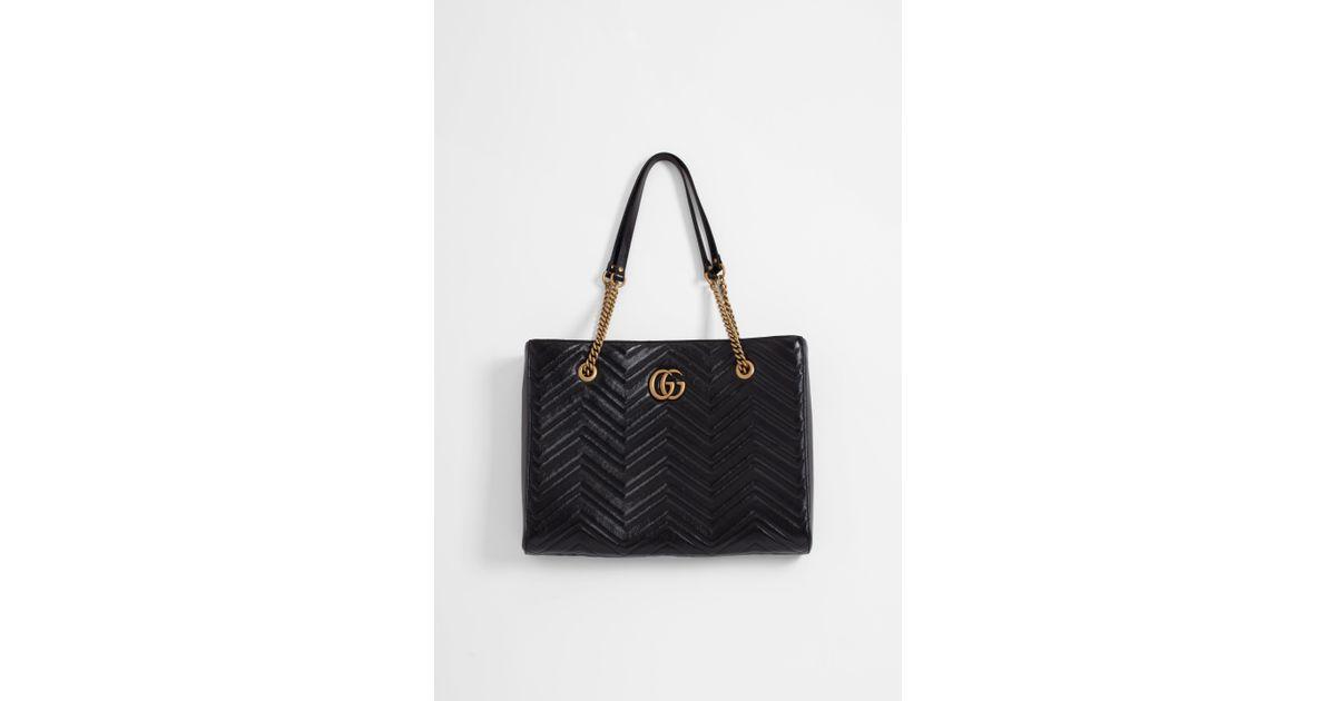 0187fe6e803 Lyst - Gucci GG Marmont Medium Leather Tote in Black - Save 22%