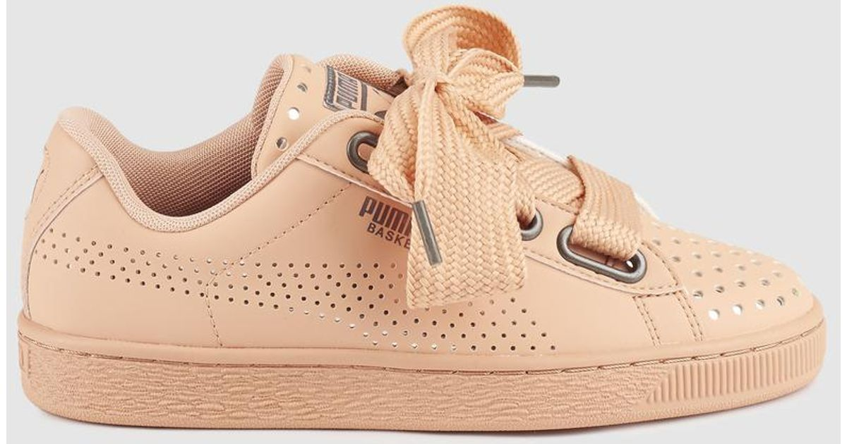 outlet store e6bdc 5e4b5 PUMA Basket Heart Ath Lux Pink Leather Trainers With Extra-long Laces