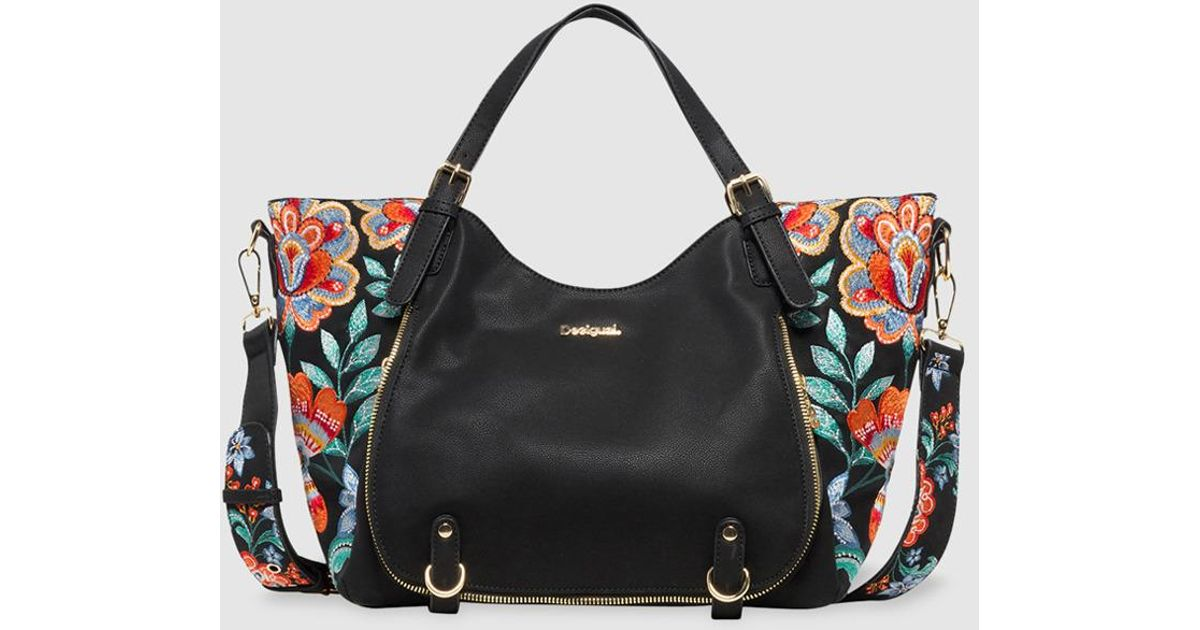 1ace3c25dcb2d Desigual Odissey Rotterdam Black Handbag With Floral Embroidery in Black -  Lyst