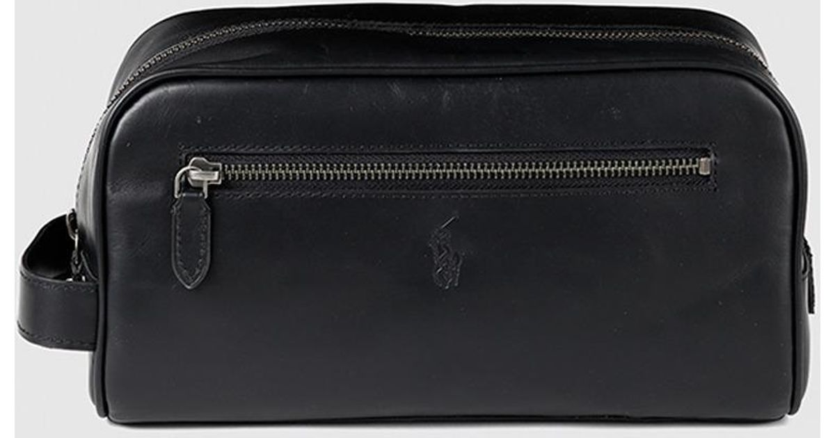 5ac0ecf670 Lyst - Polo Ralph Lauren Black Leather Toiletry Bag With Zip in Black for  Men