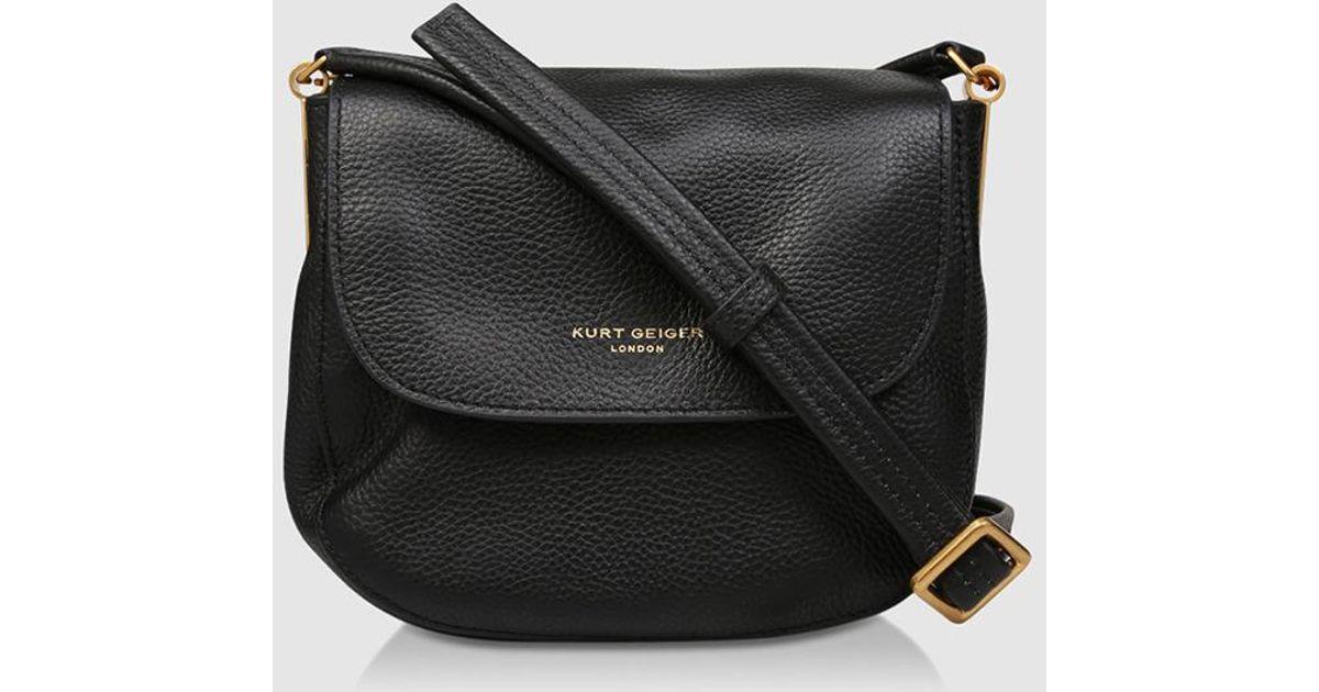 c22dffedef4 Kurt Geiger Emma Small Black Leather Crossbody Bag With Flap